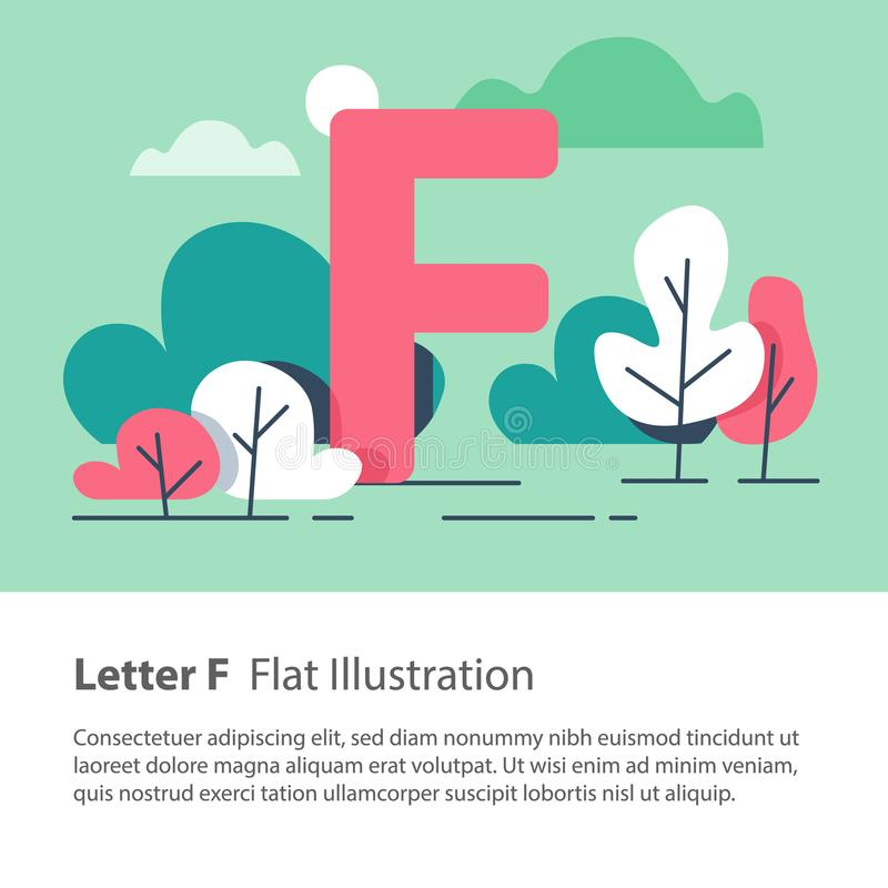 Decorative alphabet, letter F in floral background, park trees, simple font, education concept. Letter F in floral background, park trees, decorative alphabet stock illustration