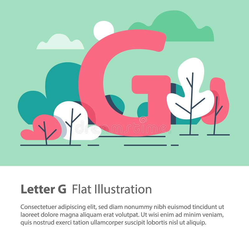 Decorative alphabet, letter G in floral background, park trees, simple font, education concept. Letter G in floral background, park trees, decorative alphabet vector illustration