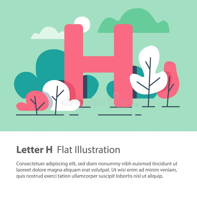 Decorative alphabet, letter H in floral background, park trees, simple font, education concept. Letter H in floral background, park trees, decorative alphabet vector illustration