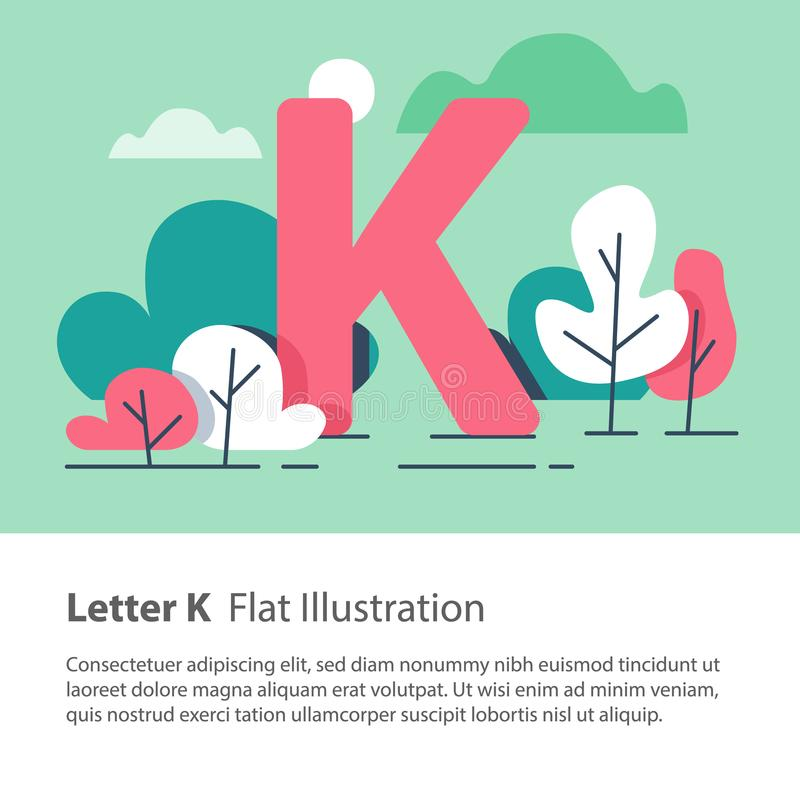 Decorative alphabet, letter K in floral background, park trees, simple font, education concept. Letter K in floral background, park trees, decorative alphabet royalty free illustration