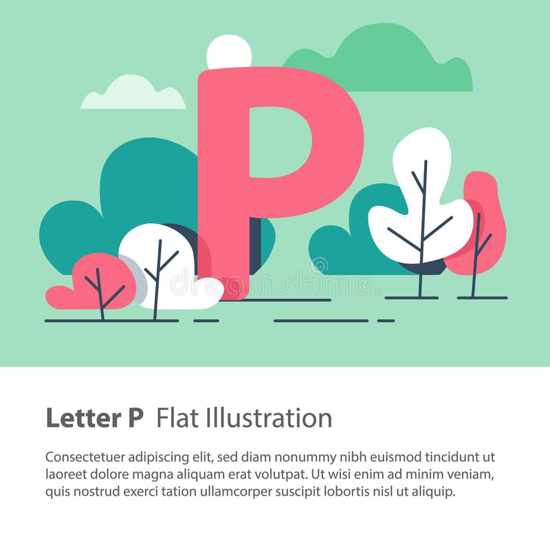 Decorative alphabet, letter P in floral background, park trees, simple font, education concept. Letter P in floral background, park trees, decorative alphabet stock illustration