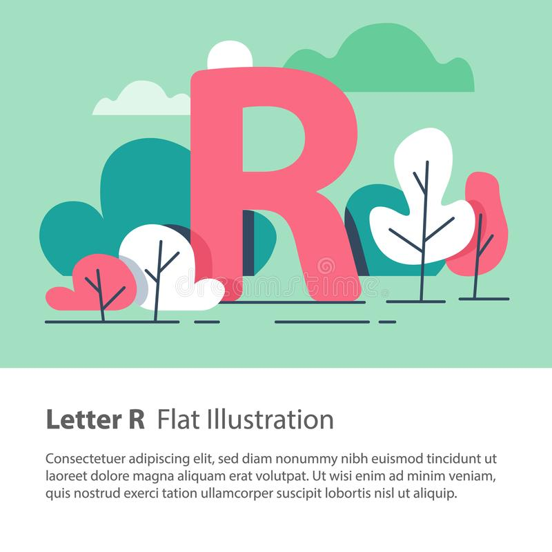 Decorative alphabet, letter R in floral background, park trees, simple font, education concept. Letter R in floral background, park trees, decorative alphabet royalty free illustration