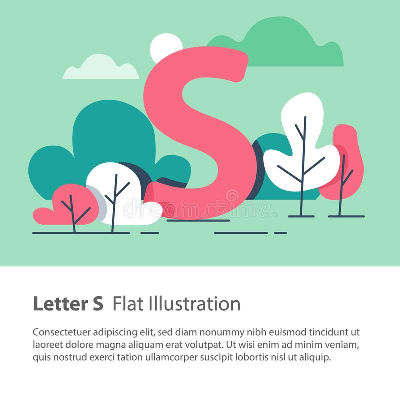 Decorative alphabet, letter S in floral background, park trees, simple font, education concept. Letter S in floral background, park trees, decorative alphabet stock illustration