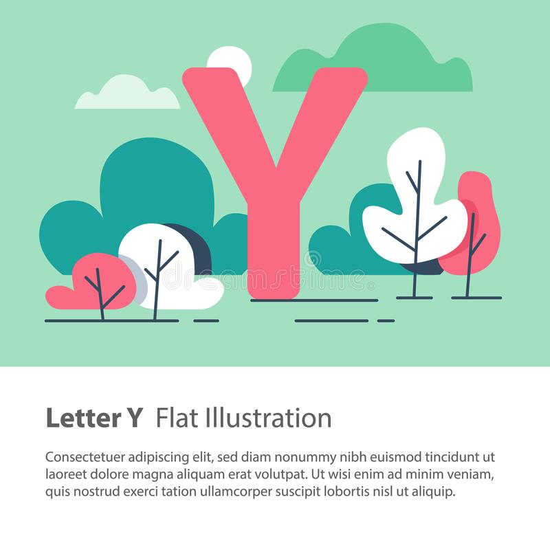 Decorative alphabet, letter Y in floral background, park trees, simple font, education concept. Letter Y in floral background, park trees, decorative alphabet royalty free illustration