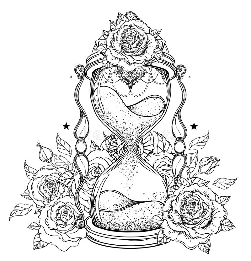 Roses Hour Glasses Tattoo: Decorative Antique Hourglass With Roses Illustration
