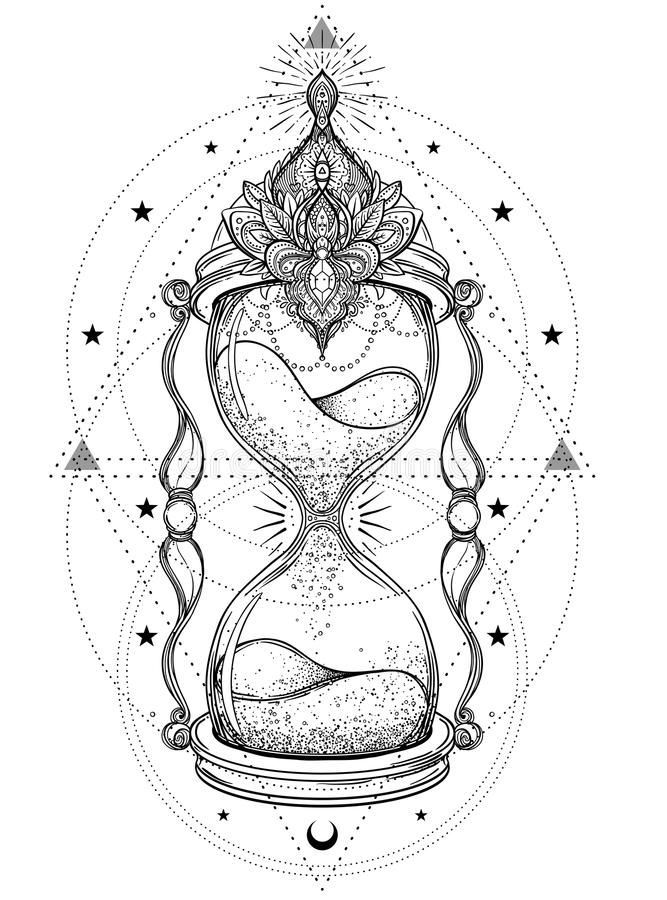 Decorative Antique Hourglass With Roses Illustration ...