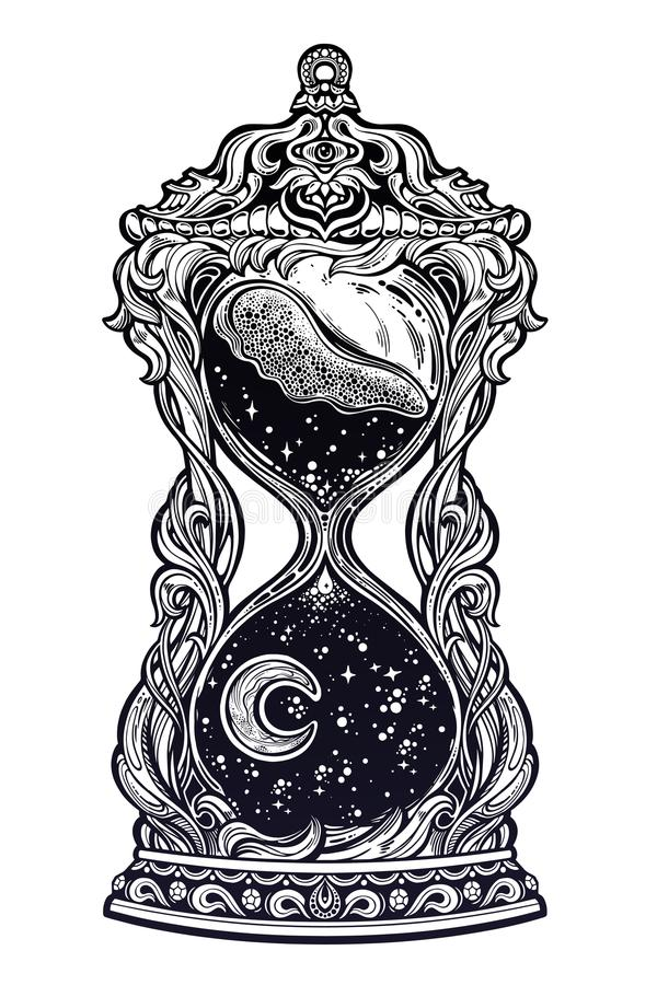 Decorative antique hourglass with stars and moon illustration. Sand clock isolated vector art. stock illustration