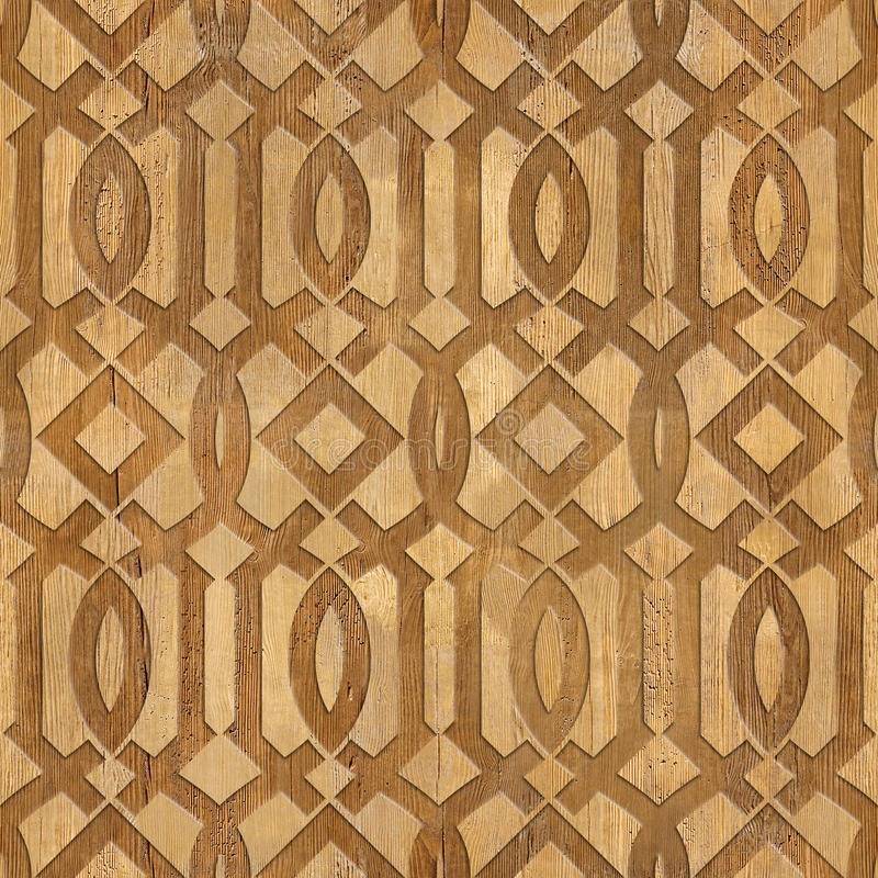 Decorative Arabic pattern - Interior Design wallpaper. Interior wall panel pattern - seamless background - geometric shapes - wood texture royalty free stock photo