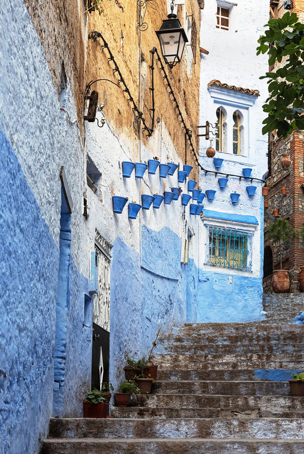 Decorative architecture in Chefchaouen, Morocco. royalty free stock photos