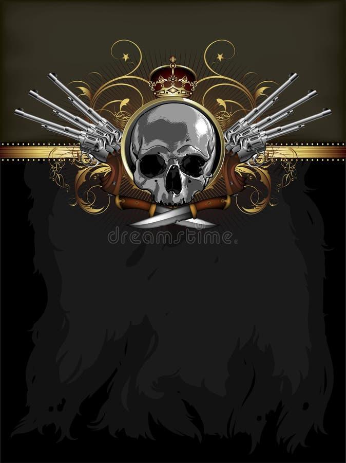 Decorative art background with skull royalty free illustration