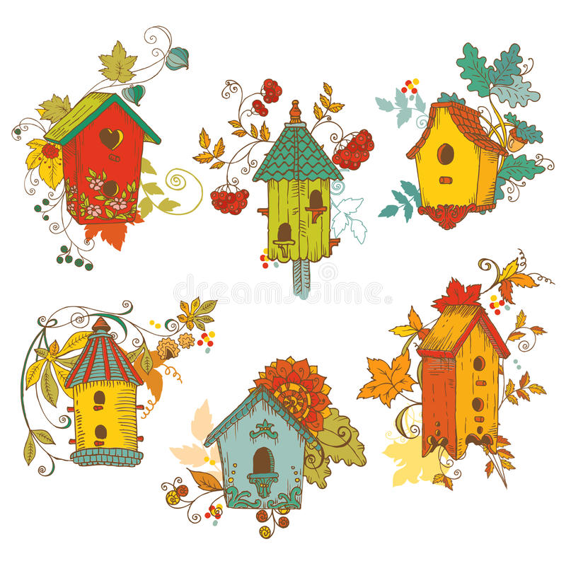 Decorative Autumn branches with Birdhouses stock illustration