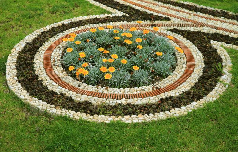 Decorative Autumn Flower Bed in the Suburb Public Park of La Paz, Bolivia royalty free stock photography