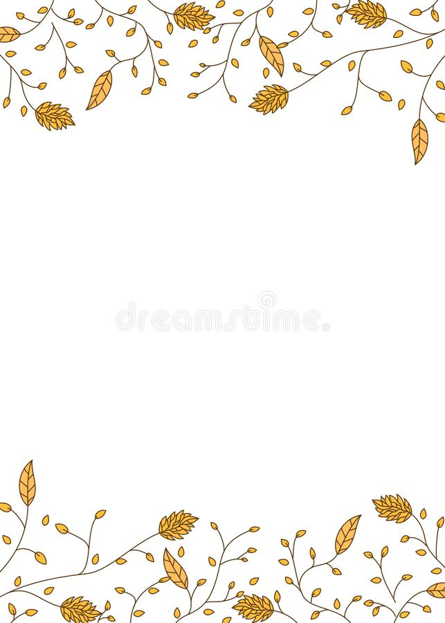Decorative autumn leaves and lines card vector illustration