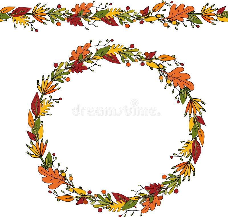 Decorative autumn wreath of leaves and twigs on an isolated white background. Element for design and greeting card. Copy space,. Place for text, illustration vector illustration