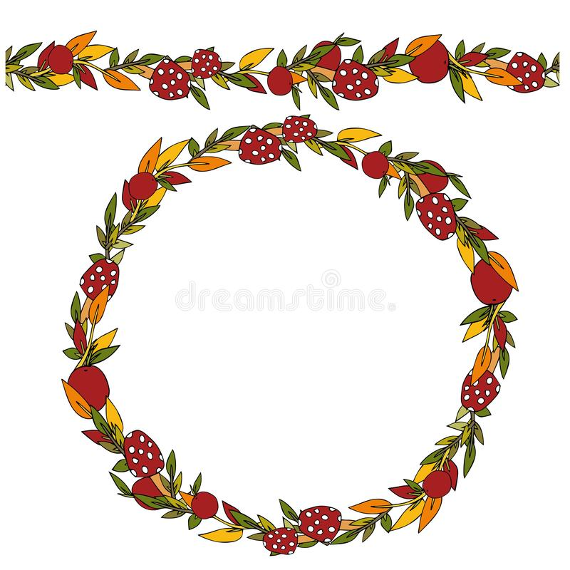 Decorative autumn wreath of leaves, twigs and mushrooms on an isolated white background. Element for design and greeting card. stock illustration