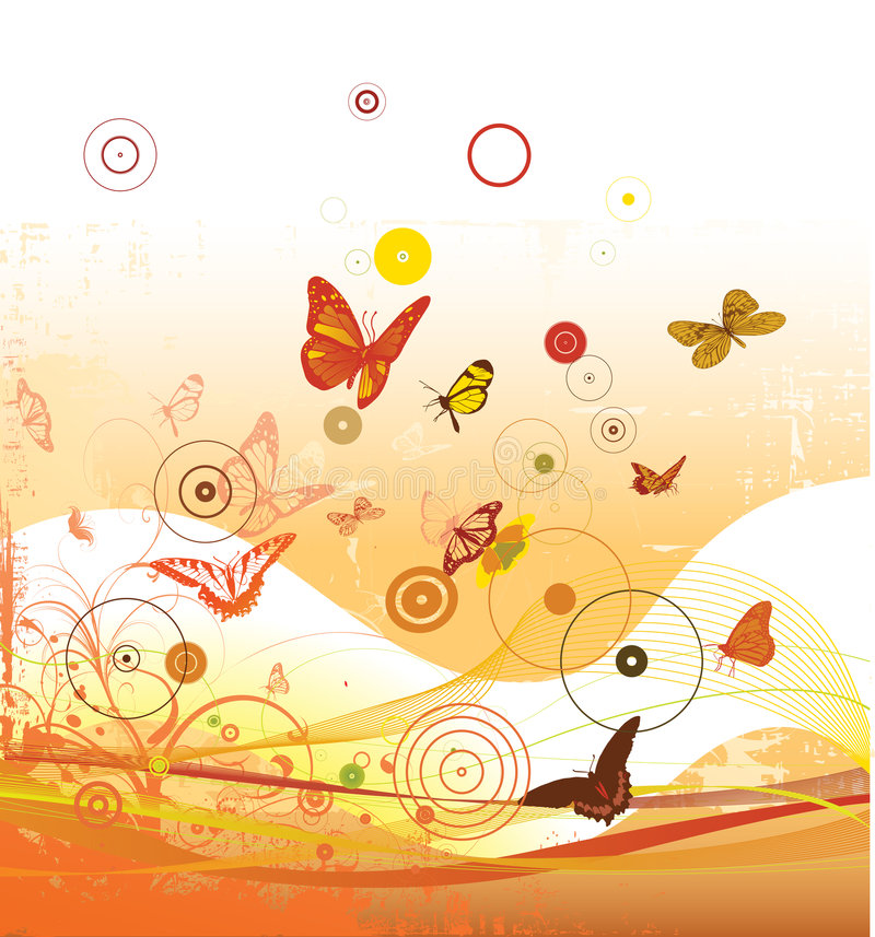 Decorative background. Decorative vector background with a lot of butterflies circles and other natural elements royalty free illustration