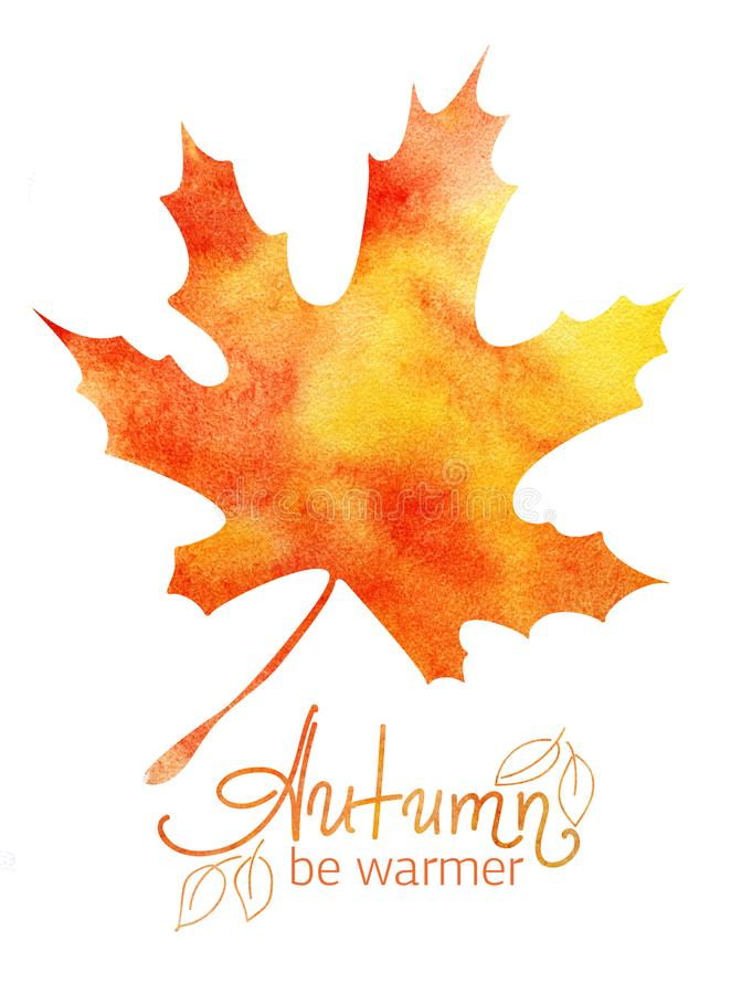 Decorative background. Autumn Maple Leaf Orange Yellow Gradient. Handwritten word lettering Autumn. Abstract watercolor stock illustration