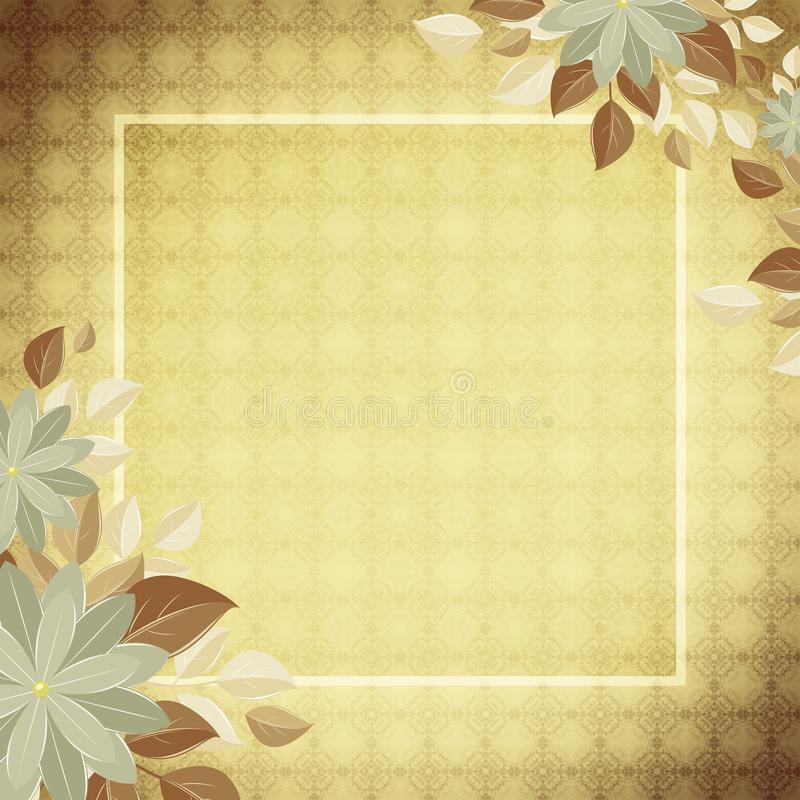 Decorative Background With A Border And Flowers, Sand Stock ...