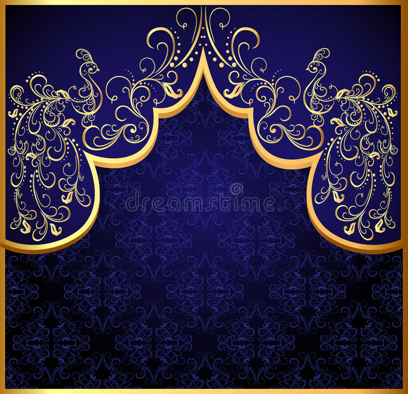 Download Decorative Background Frame With Gold(en) Peacock Stock Image - Image: 24976451