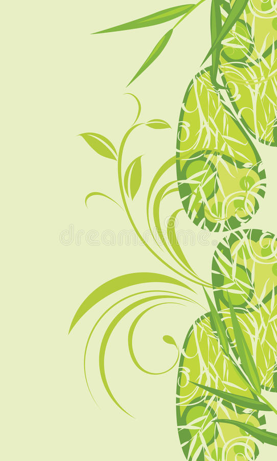Decorative Background With Green Floral Ornament Royalty Free Stock Images