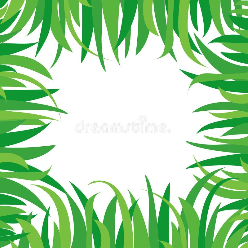 Decorative background with green grass isolated on white background. Square frame in nature style, space for your text. Vector. Illustration vector illustration