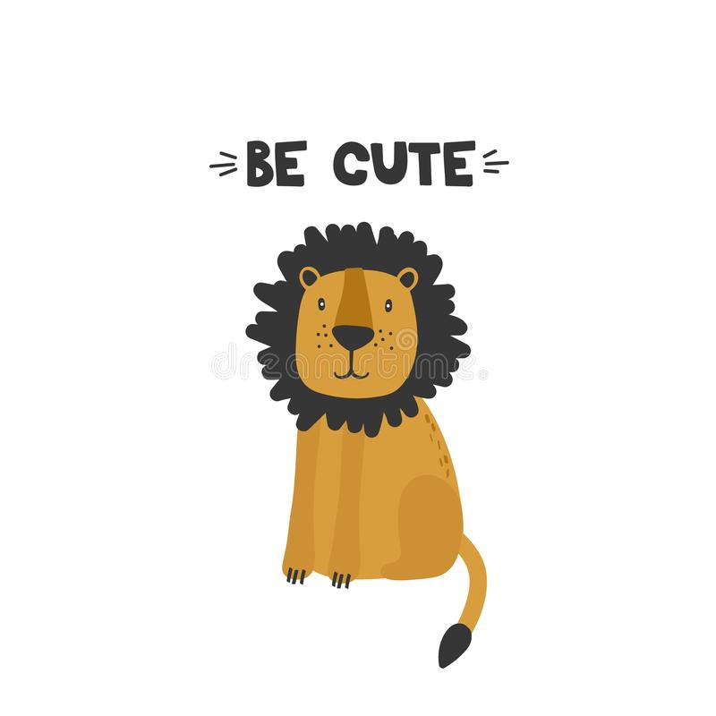 Decorative background with lion and english text. Be cute. Backdrop with animal vector illustration