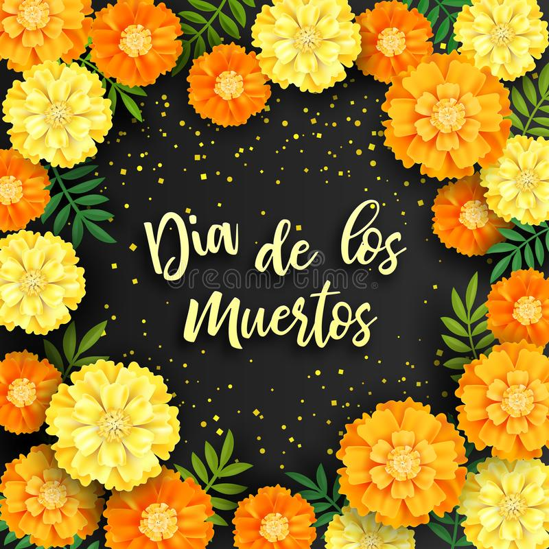 Decorative background with orange marigolds, symbol of mexican holiday Day of dead. Vector illustration.  stock illustration