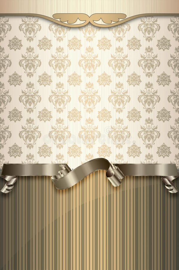 Decorative background with patterns and gold ribbon. Elegant background with decorative border,vintage patterns and gold ribbon. Book cover or vintage vector illustration