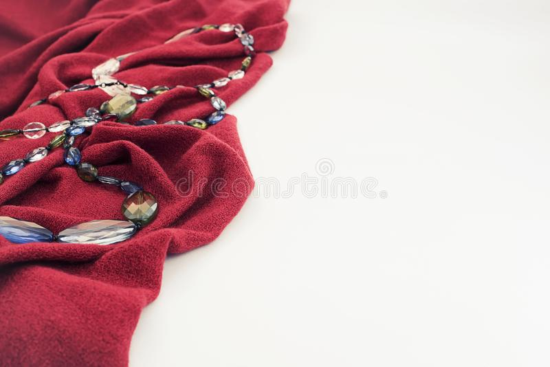 Decorative background textile soft pleats and beads. Top view Flat lay royalty free stock photos