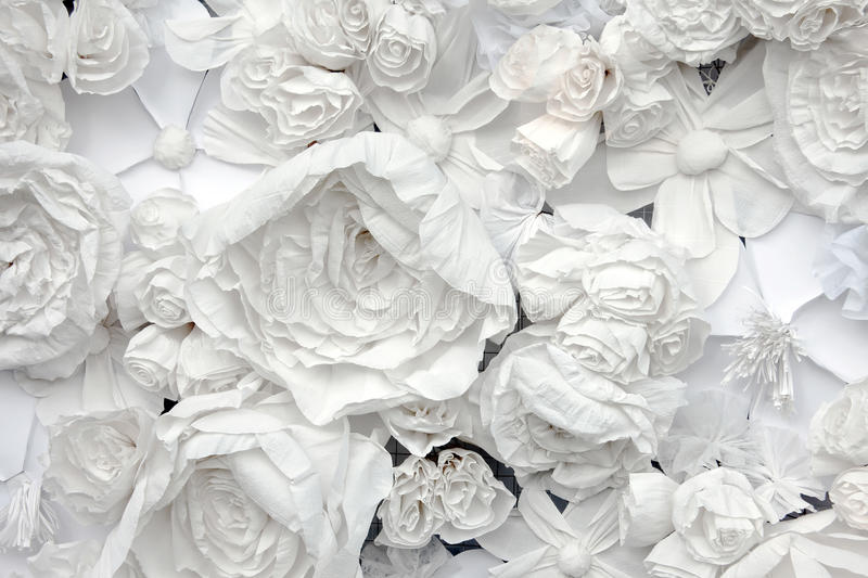 Decorative background from white paper flowers stock photo