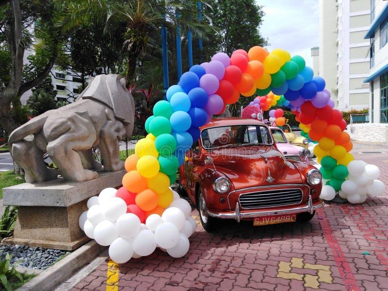 Decorative balloons at a carnival stock photo