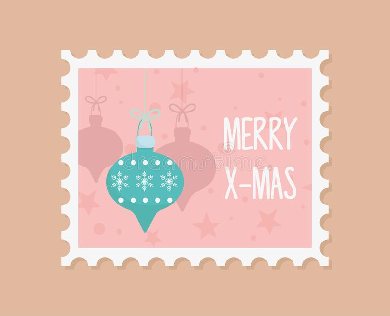Decorative balls celebration happy christmas stamp. Vector illustration royalty free illustration