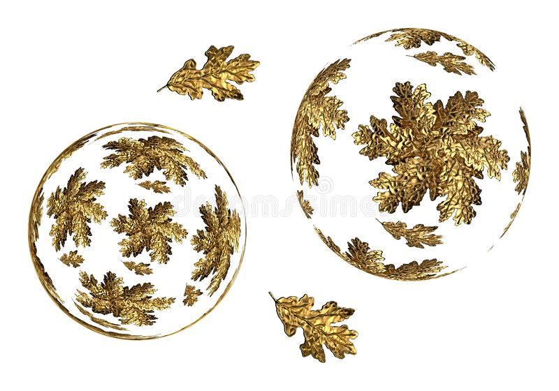 Decorative balls with golden oak leaves. On a white background 3d rendering stock illustration