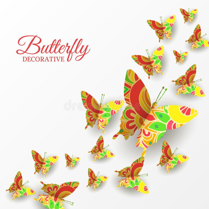 Decorative banner with colorful flying butterflies. royalty free illustration