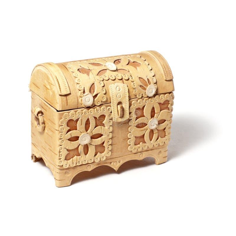 Decorative bark box. Small handmade bark box isolated on white background stock photography