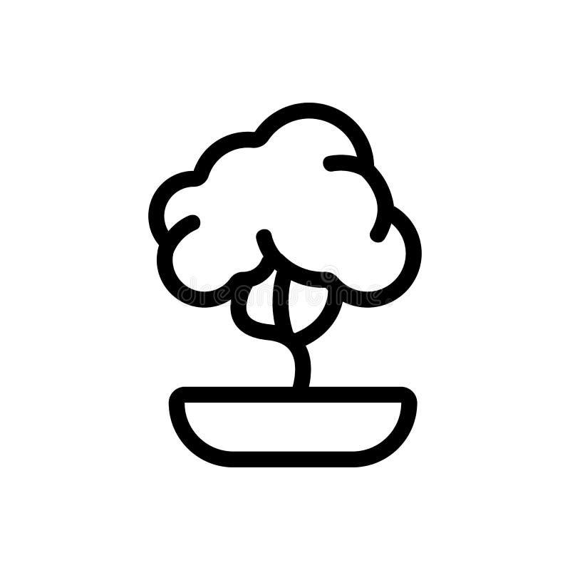 Decorative Baumsymbol-Vektor Abgeschlossenes Kontursymbol stock abbildung