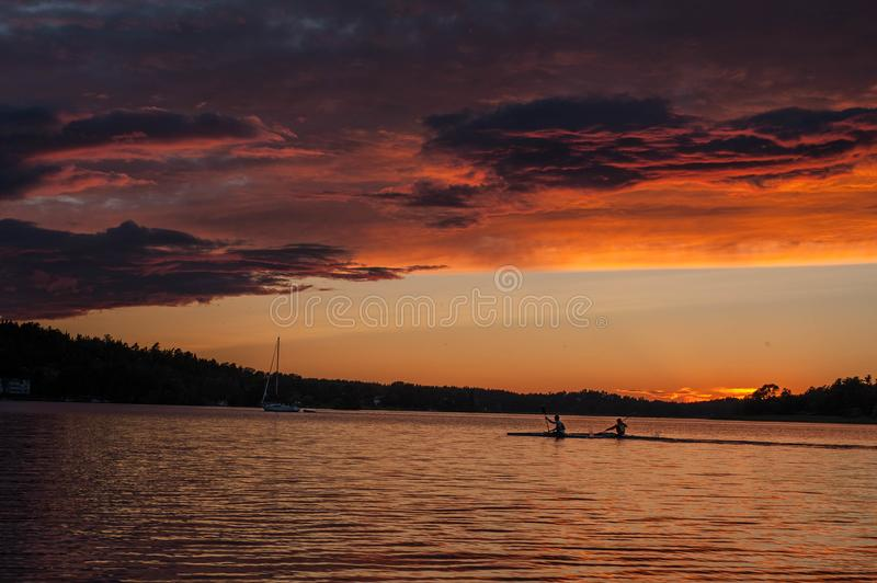 The decorative beauties of a sunset in Sweden. In this image you can see the decorative beauties of a sunset with all its warm colors stock photography