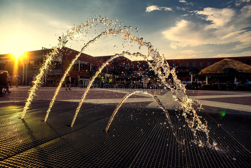 Decorative beautiful fountain at sunset royalty free stock photos