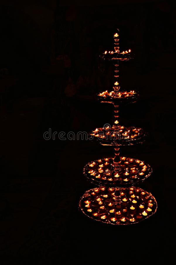 Decorative beautiful traditional Diwali Diya or lamps. Ideal image for Diwali card or greetings. Decorative beautiful traditional Diwali Diya or lamps decorated royalty free stock photos