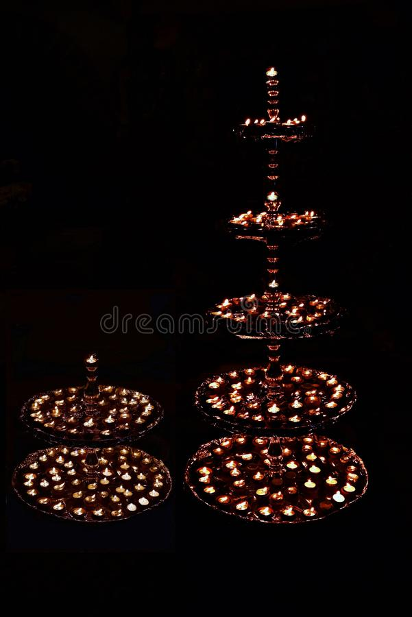 Decorative beautiful traditional Diwali Diya or lamps. Ideal image for Diwali card or greetings. Decorative beautiful traditional Diwali Diya or lamps decorated royalty free stock images
