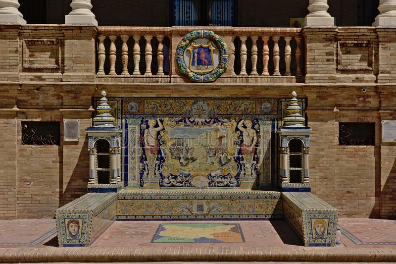 Badajoz bench on Plaza de Espana, Seville royalty free stock photos