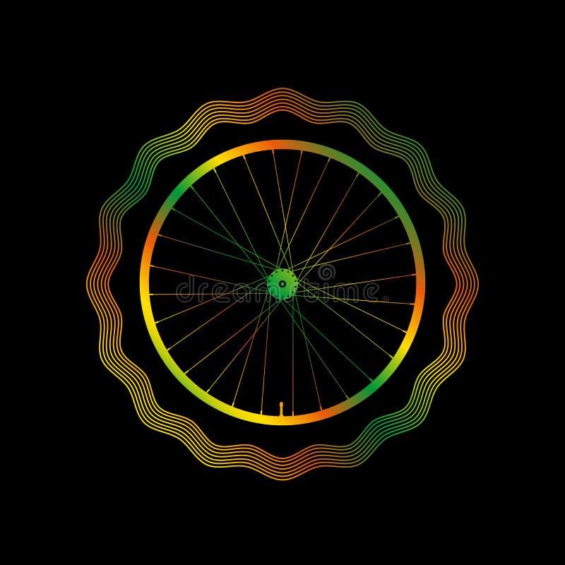 Decorative Bike Rim with Bright Gradient. Guilloche Vector Frame stock illustration