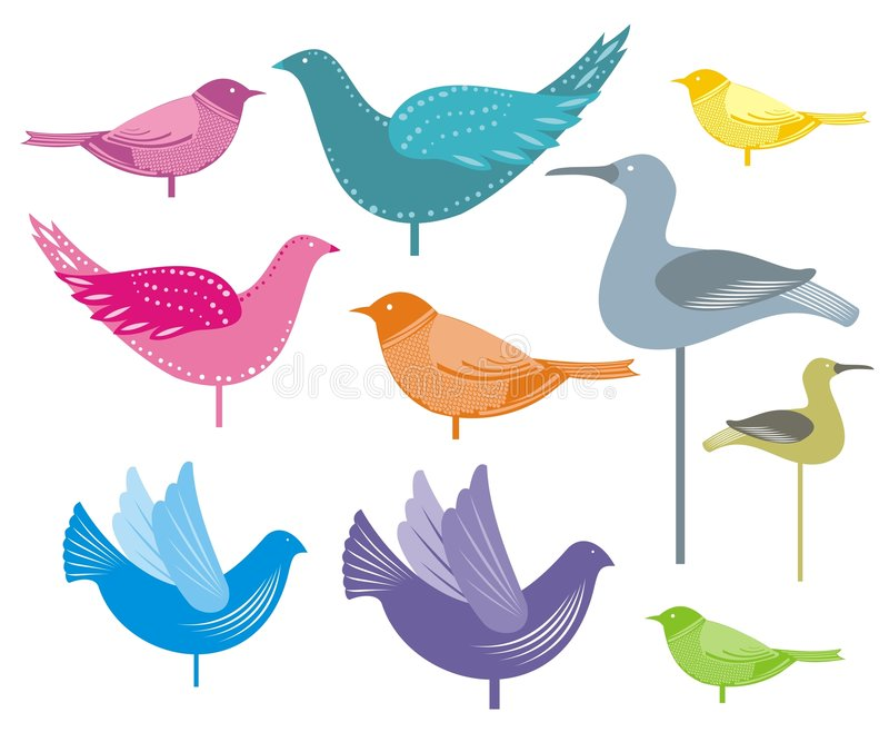 Decorative birds. Illustration of colourful decorative birds could be used as greetings card royalty free illustration