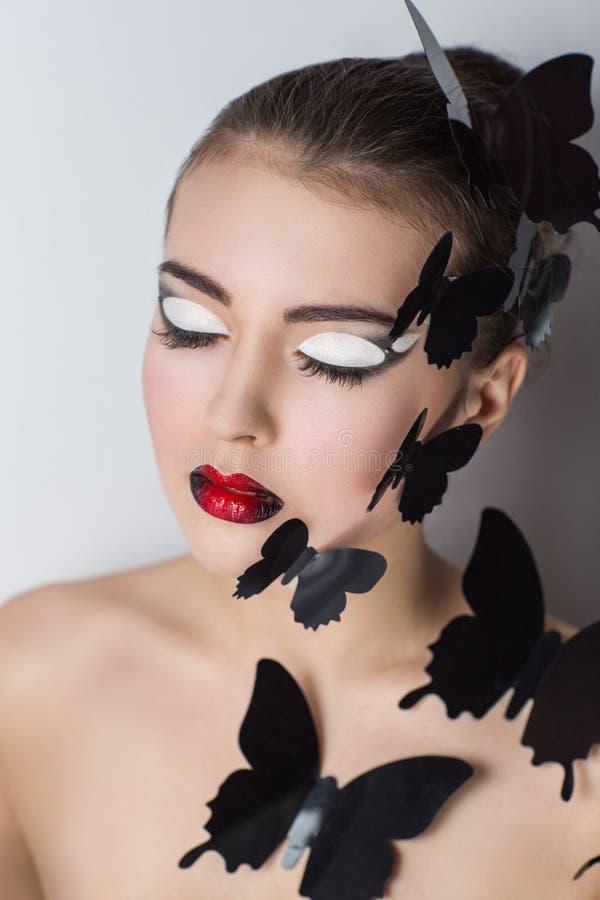 Decorative black butterfly stock photos