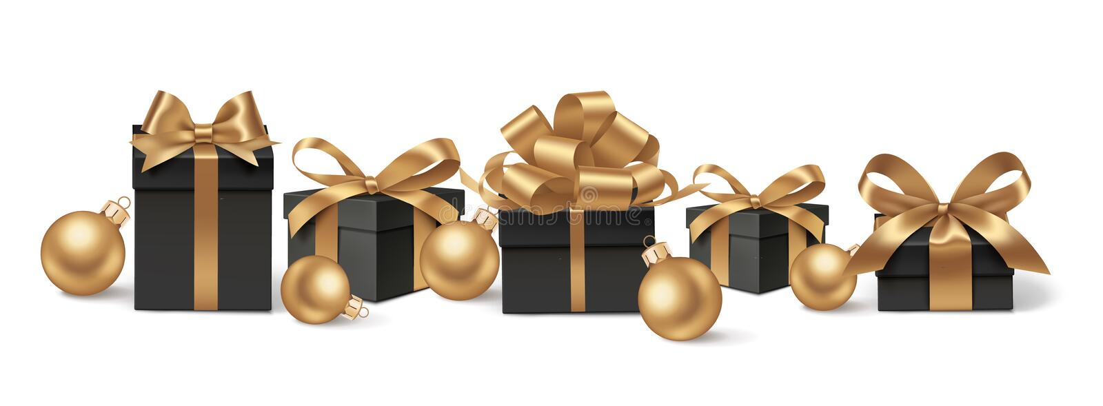 DEcorative black gift boxes and golden balls. Set of decorative black gift boxes with golden bows and gold Christmas balls isolated on white for New Year Sale vector illustration
