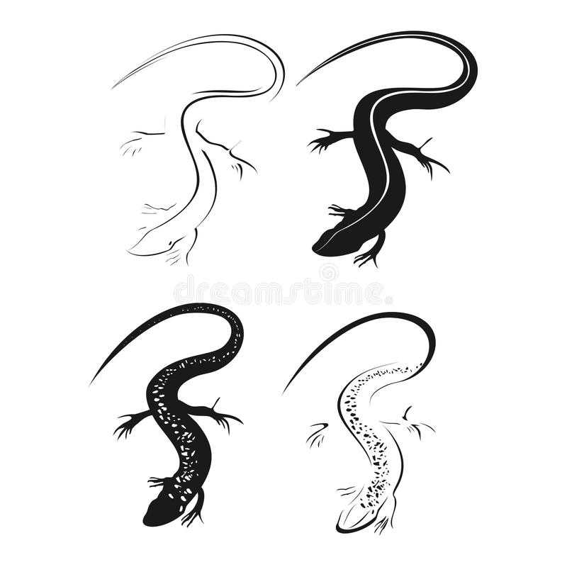 Free Decorative Black Lizard. Graphic Style Of Lizard Isolated On White Background. Stock Image - 59330121