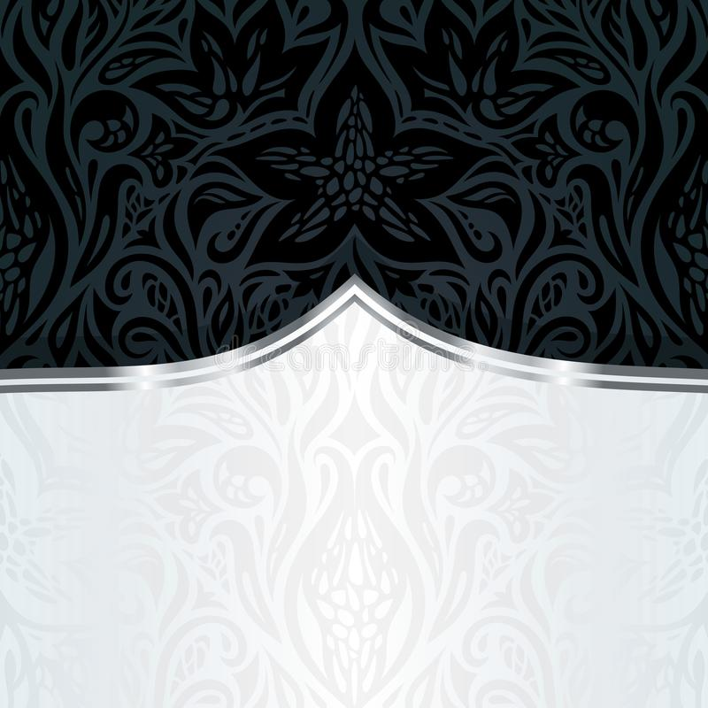 Decorative black silver floral luxury wallpaper background design in vintage style stock illustration