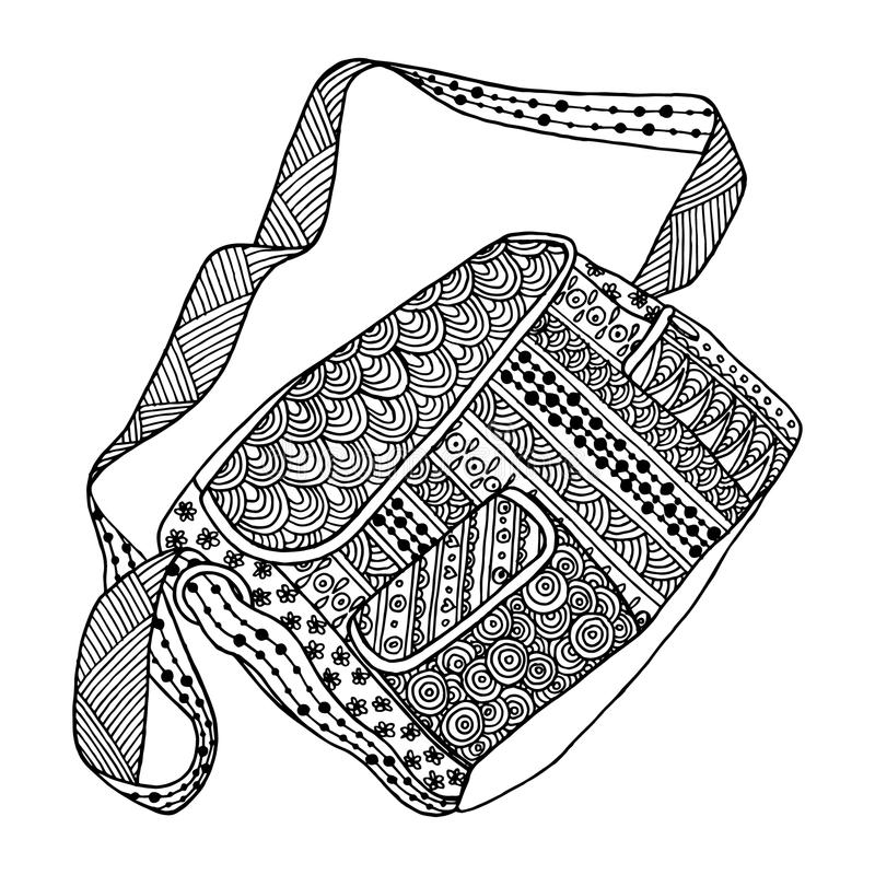 Decorative black and white bag. royalty free illustration