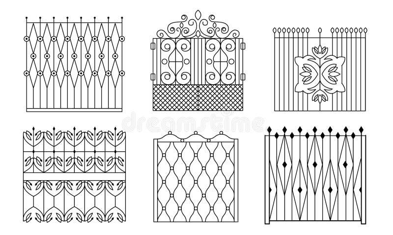 Decorative Black Wrought Iron Gates Set, Vintage Fences with Swirls Vector Illustration. On White Background royalty free illustration