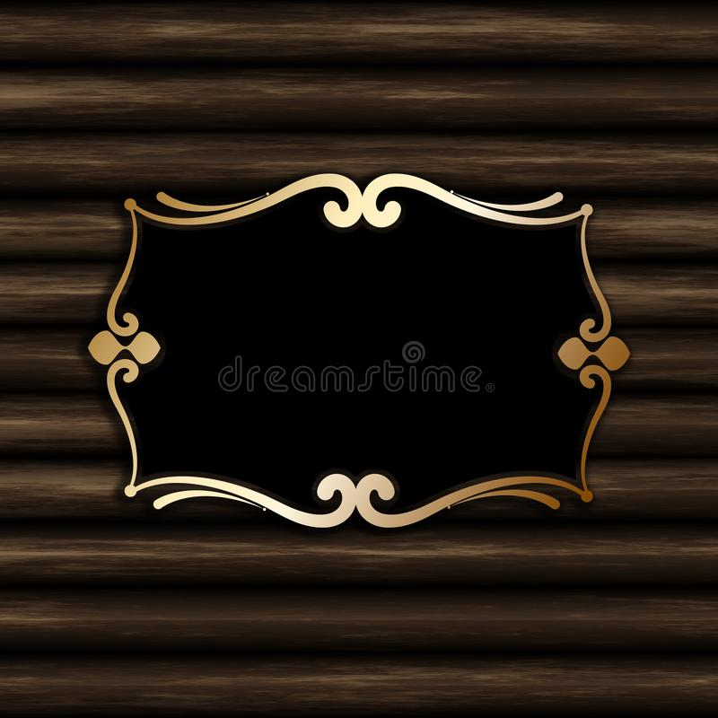 Decorative blank frame on an old wood background. Decorative blank frame on an old wood texture background stock illustration